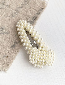 Fashion Alloy + Resin Alloy Resin Imitation Pearl Triangle Hollow Hairpin