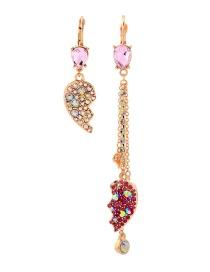 Fashion Gold Asymmetric Human Face Diamond Earrings
