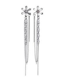 Fashion Silver S925 Silver Needle Tassel Earrings