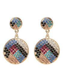 Fashion Blue Color Round Diamond Stud Earrings