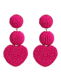 Fashion Rose Powder Rice Beads Heart Shaped Earrings