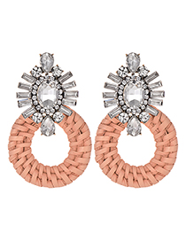 Fashion Orange Powder + White Alloy Diamond-studded Round Earrings