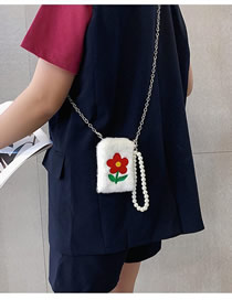 Fashion Red Embroidered Flower Pearl Mobile Phone Bag