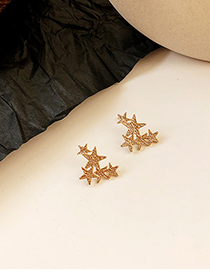 Fashion Gold Star Mosaic Three-dimensional Flower Carving Earrings
