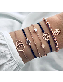 Fashion Rose Gold Alloy Wax Rope Earth Flower Bracelet Set