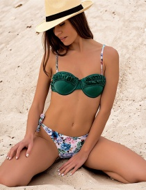 Fashion Green Ruffled Floral Split Swimsuit Two-piece Suit