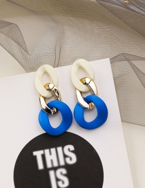 Fashion Blue Acrylic Contrast Chain Earrings