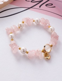 Fashion Pink Natural Stone Crystal Shaped Irregular Shell Pearl Conch Bracelet