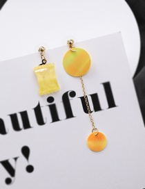 Fashion Yellow Square Candy Sequin Tassel Asymmetric Earrings