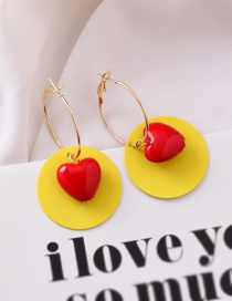 Fashion Yellow Acrylic Round Color Earrings