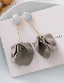 Fashion Gray 925 Silver Needle Matte Petal Earrings