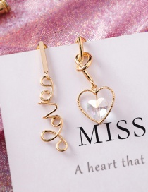 Fashion Gold S925 Silver Pin Love Crystal Love Asymmetric Earrings