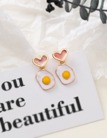 Fashion Pink 925 Silver Needle Poached Egg Heart Shaped Asymmetric Earrings