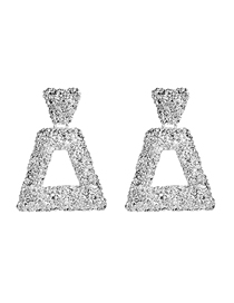 Fashion Silver Alloy Trapezoidal Textured Geometric Earrings
