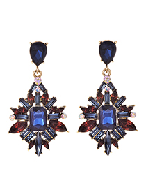 Fashion Blue Alloy Diamond-studded Earrings