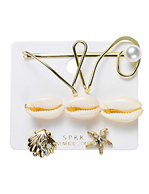 Fashion Gold Alloy Shell Hair Clip Earrings Set