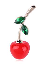 Fashion Cherry Alloy Diamond Cherry Brooch