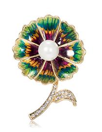 Fashion Flower Alloy Flower Pearl Brooch