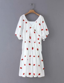 Fashion White Cherry Embroidered Dress
