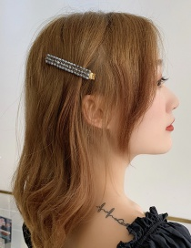 Fashion Beige Word Clip Imitation Pearl Hairpin