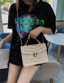 Fashion Creamy-white Portable Snake Head Shoulder Color Crossbody Bag