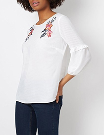 Fashion White Small Plaid Embroidery Ruffled Shirt