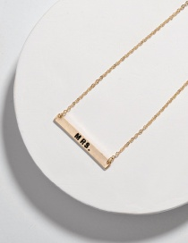 Fashion Mrs Alloy Letter Smudged Rectangular Necklace