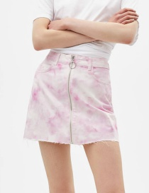 Fashion Pink Tie-dyed Denim Skirt