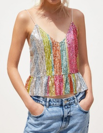 Fashion Color Sequined Top