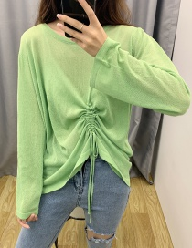 Fashion Green Drawstring Ice Silk Sweater Sunscreen Blouse