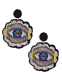 Fashion Black Non-woven Rice Beads Flower Eyes Earrings
