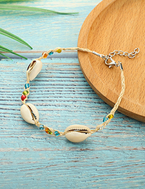 Fashion White Mixed Color Rice Beads Bracelet Natural Shell Anklet