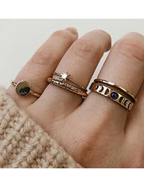 Fashion Gold Star Moon Letter Ring Set Of 5
