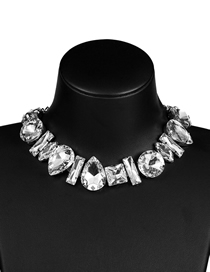 Fashion Silver Drop-shaped Glass Diamond Necklace