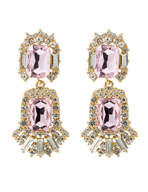 Fashion Pink Multi-layer Acrylic Diamond Earrings