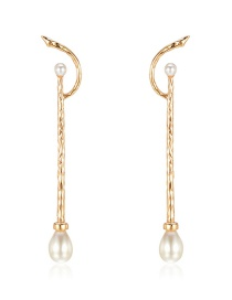 Fashion Gold Zinc Alloy Pearl Earrings