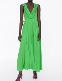 Fashion Green Small Pleated Dress