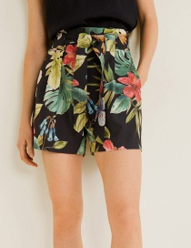 Fashion Color Flower Print Belt High Waist Shorts