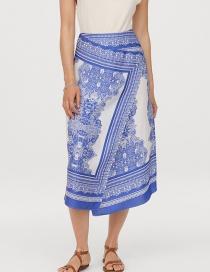 Fashion Blue Satin Skirt