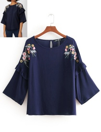 Fashion Navy Floral Embroidered Ruffled Round Neck Shirt