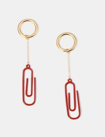 Fashion Red Paper Clip Small Circle Alloy Earrings