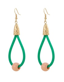Fashion Green Geometric Drop-shaped Resin Round Bead Hollow Earrings