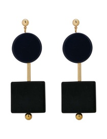 Fashion Black Geometric Resin Earrings