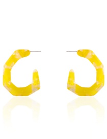 Fashion Yellow C-shaped Earring