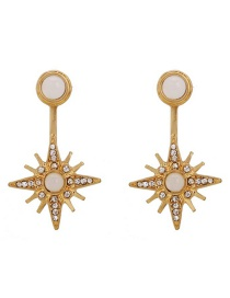 Fashion Gold Double Metal Stud Earrings Before And After The Stars