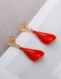 Fashion Red Painted Metal Alloy Diamond Heart Earrings