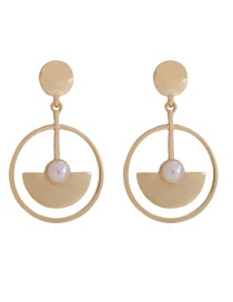 Fashion Gold Pearl Geometric Metal Circle Cutout Fan Earrings