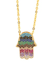Fashion Colored Palm Colored Zircon Love Necklace