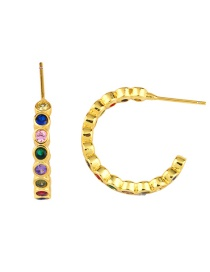 Fashion Golden Earrings C-shaped Crystal Zircon Circle Earrings