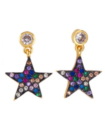 Fashion Gold Stars Lips: Stars: Micro-inlaid Zircon Earrings